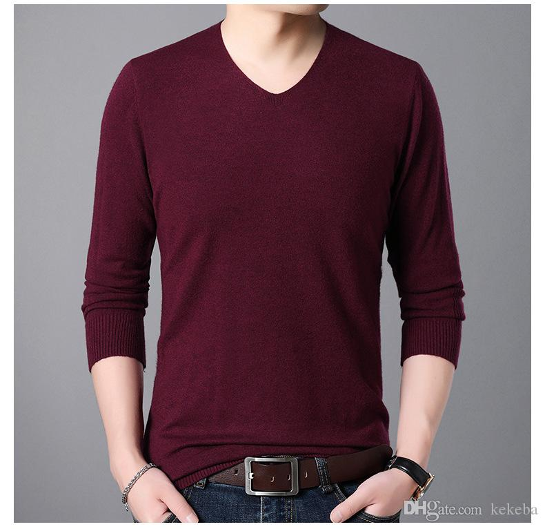 8719cf77ce Autumn And Winter New Men s Sweater - V-neck Thin Sweater - Solid Color  Wild Shirt -6 Yards Men s Sweater V-neck Sweater Solid Color Bottoming  Shirt Online ...