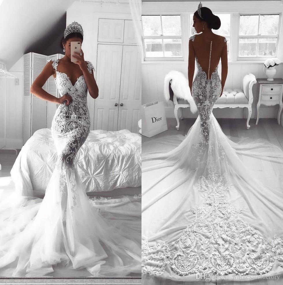 2019 Sexy full Lace Sweetheart Neck Mermaid Wedding Dresses White O-neck Satin Mermaid Bridal Gowns Unique Robe De Mariage BA9614