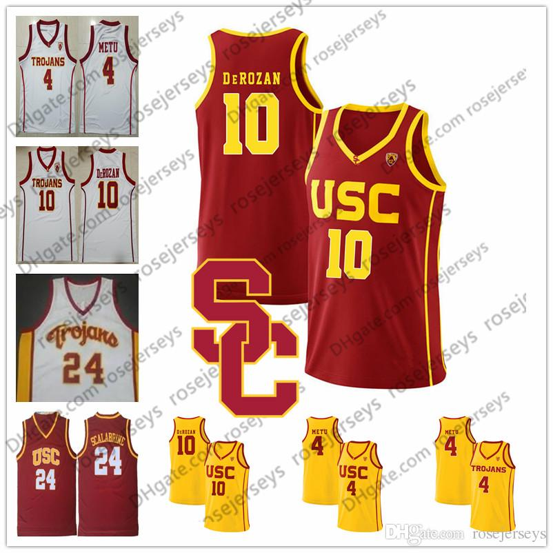 bdc779f46 2019 NCAA USC Trojans 10 DeRozan 24 Brian Scalabrine 11 McLaughlin 4  Chimezie Metu DeMar Red Yellow White Vintage College Basketball Jersey S  4XL From ...