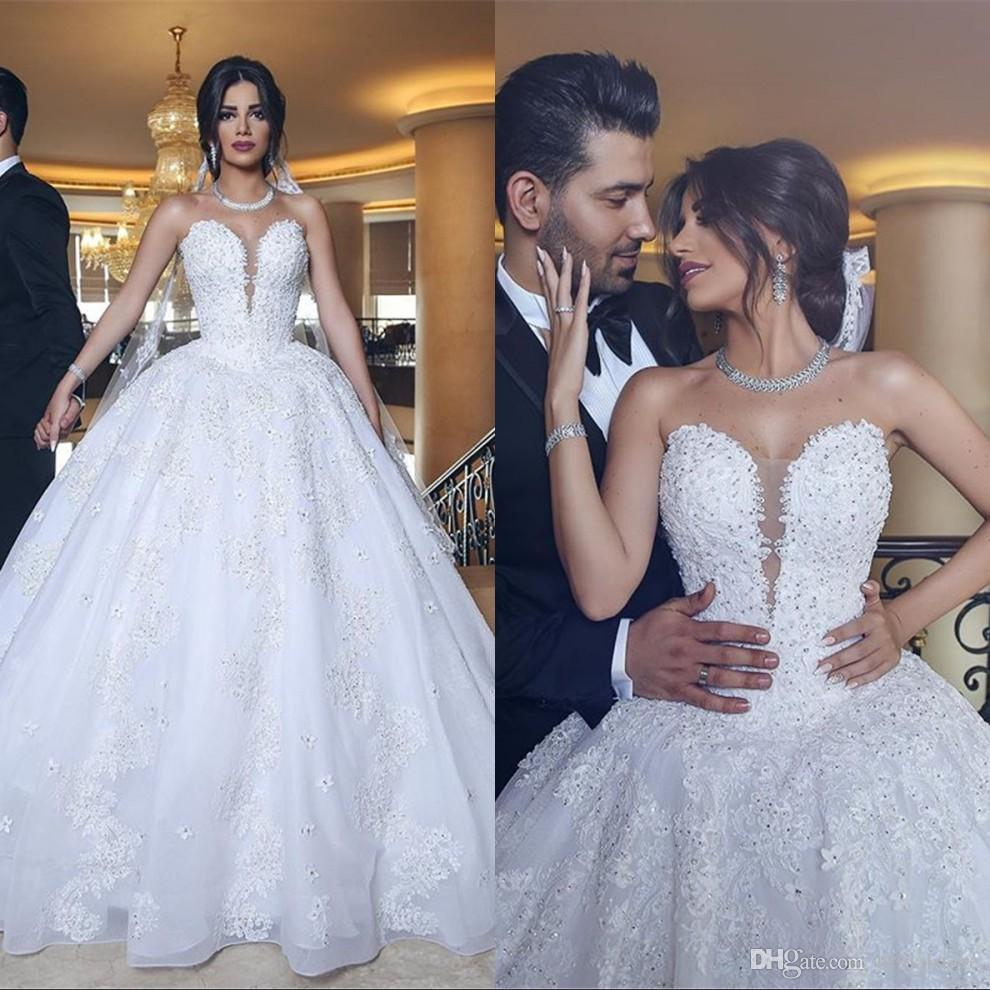 4d127668029 Designer Cheap Ball Gown Lace Wedding Dresses Arabic White Sweetheart Floor  Length Appliques Beaded Fashion Middle East Wedding Gowns 2019 Hippie  Wedding ...