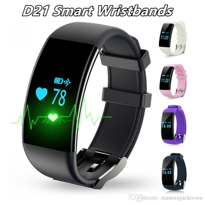 2019 Dfit D21 Smart Bracelet Wristband Bluetooth IP68 Waterproof heart rate Monitor Sport Wristlet Tracker For iphone ios android smartphone