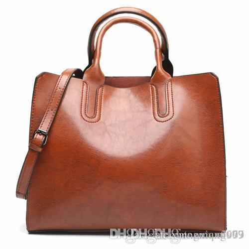 359f60a8ac0f New European and American fashion bags, oil leather handbags, simple  one-shoulder shoulder bag, free delivery.