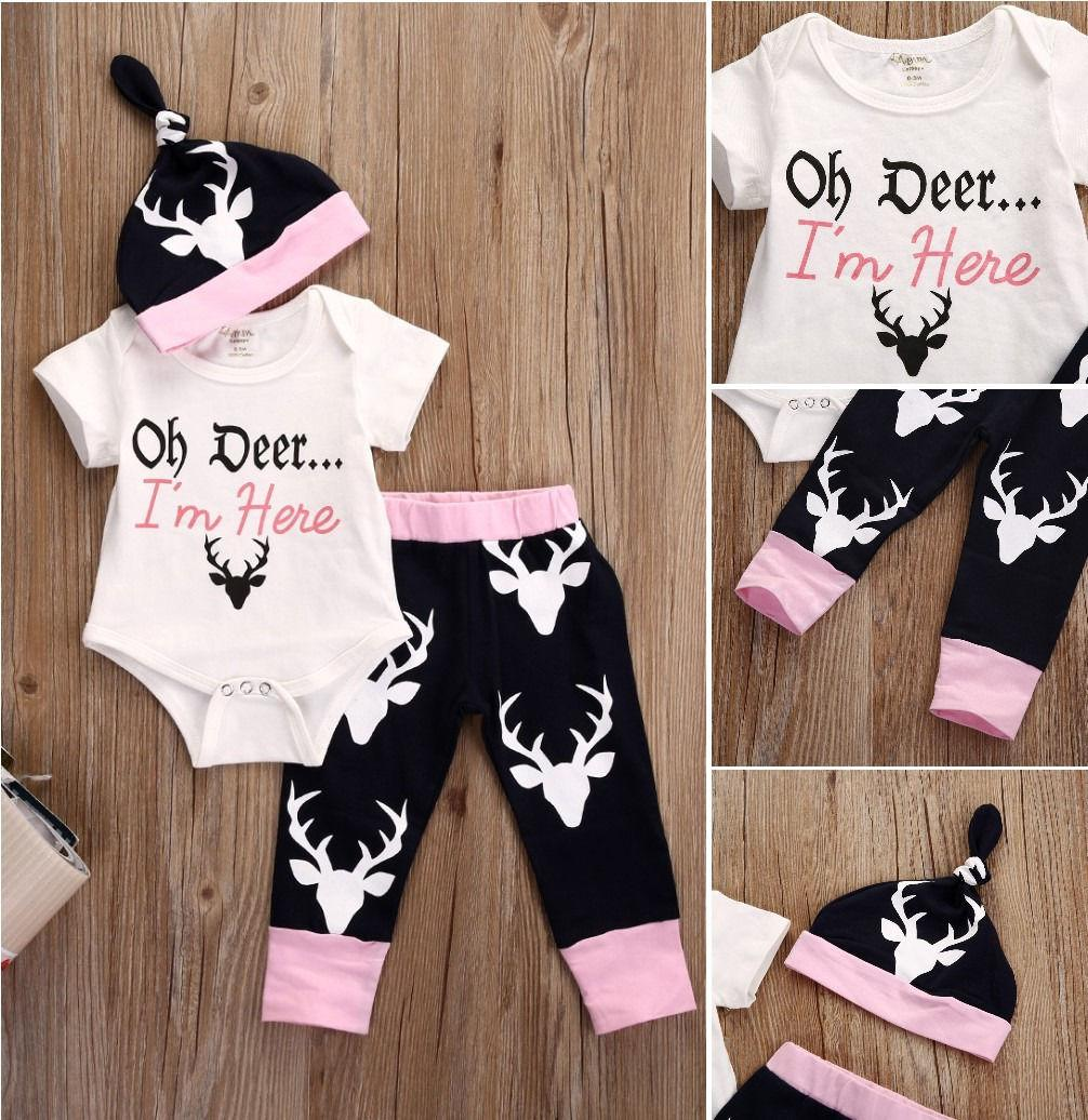 e3725d833 2019 Newborn Baby Girls Clothes Tops Bodysuits +Deer Pants Leggings Cotton  Hat Fashion Baby Girl Clothing Outfits Set Clothes 0 18M Y18120801 From ...