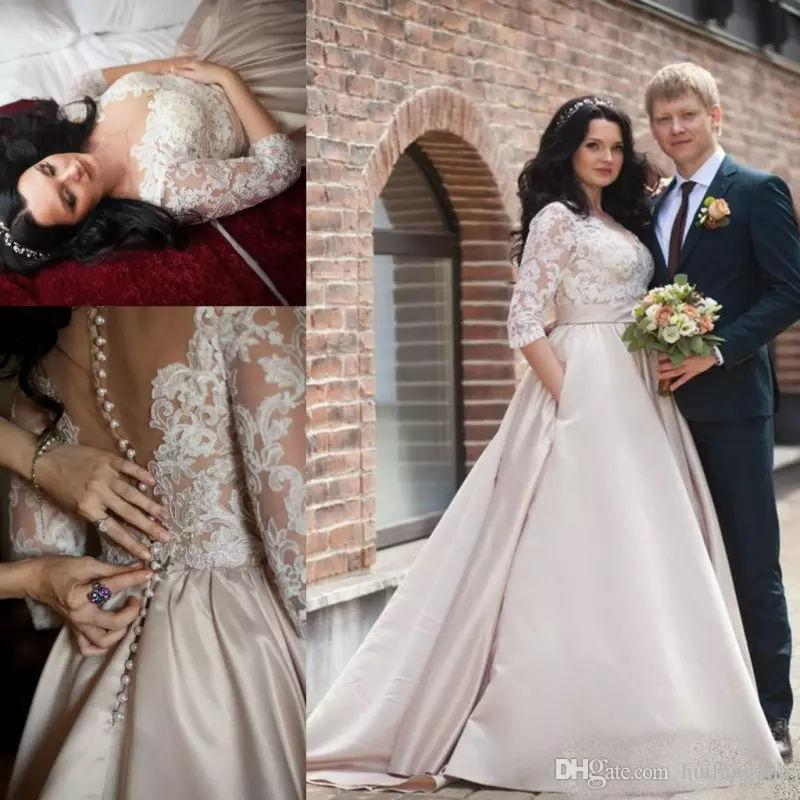 Discount Latest Plus Size Wedding Dresses Dubai Arabic Illusion Half
