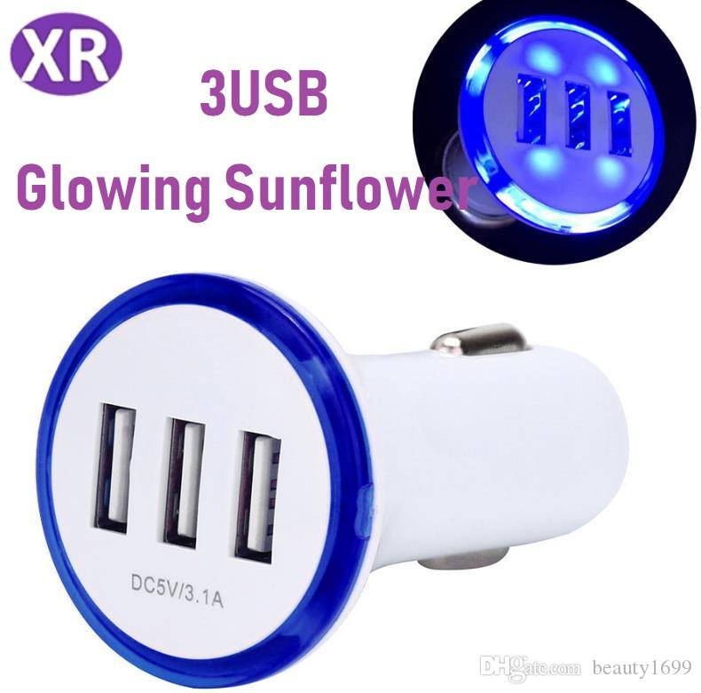 57ca4ea5510 Cargador Led Light Sunflower 3USB Cargador De Coche Color Caramelo 5v 2A  Universal Mini 3USB Cargador De Coche Para IPhone X 8 Samsung Galaxy Note  LG IPhone ...