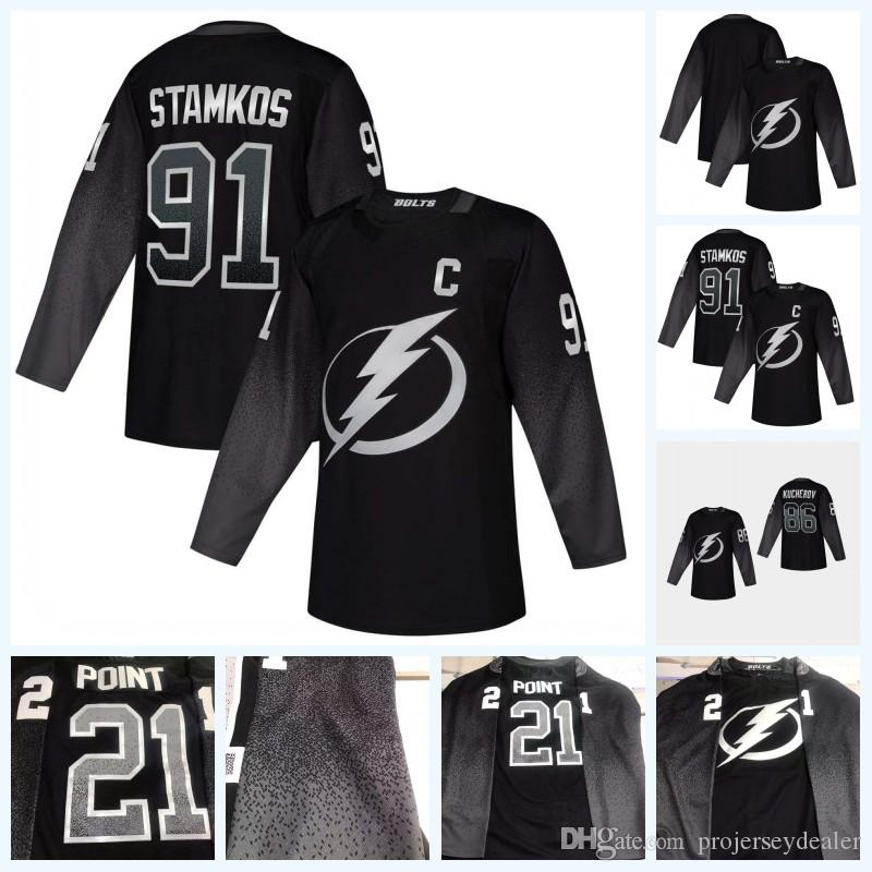 uk availability 026c8 efec8 86 Nikita Kucherov Tampa Bay Lightning 2019 Third Jersey 91 Steven Stamkos  Black Ice Hockey Jersey Fast Shipping High Quailty