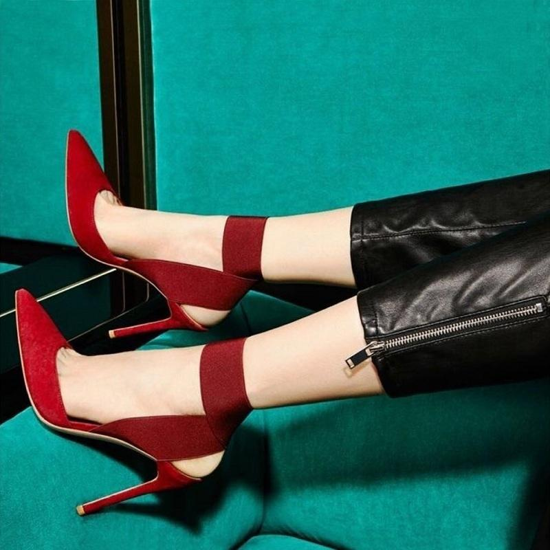 New High Heels Pumps Women Sexy Elastic Band Cross Strappy Stiletto Shoes Ladies Black Red Pointed Toe Party Shoes Zapatos Mujer