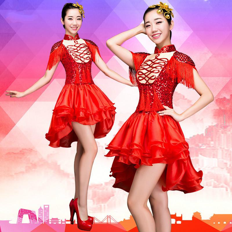 cbe4eb479dae 2019 High Quality 2019 Modern Dance Costumes Sequins Female Adult Red Tassel  Drums Jazz Dance Costume Stage Skirt From Xianfeiyu, $138.77 | DHgate.Com