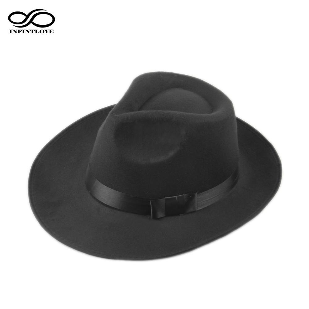 d458a163d2b56 LUCKYLIANJI Vintage Men Women Hard Wool Felt Hat Wide Brim Fedora Trilby Panama  Hat Gangster Cap One Size 58cm D19011103 Hats In The Belfry Knit Hats From  ...