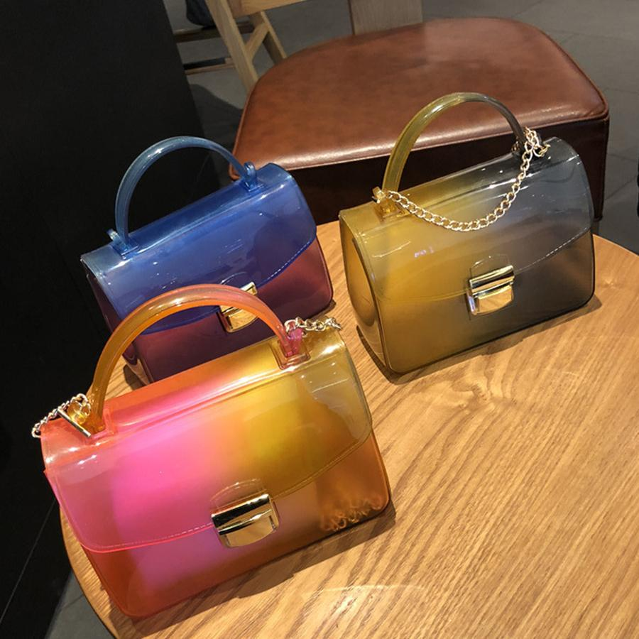 Transparent Pvc Panelled Jelly Bags Women Handbags Purse Clear Pvc Hit Color Crossbody Bags For Women Chains Flap Bag Girls 2019