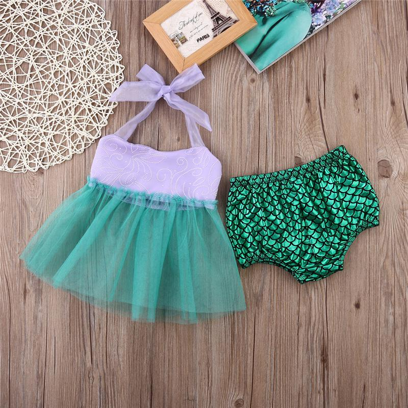 Toddler Kids Girls Tulle Tops+Bottoms Briefs Mermaid Swimwear Costume Swimwear Hot two pieces Bathing suits kids girls Beachwear
