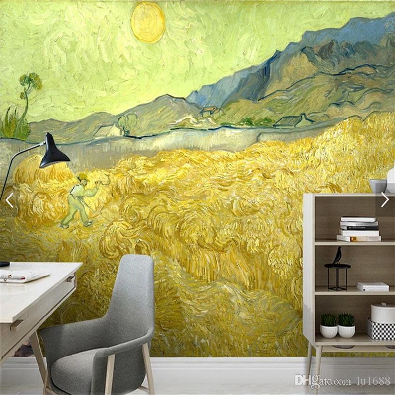 Foto personalizzata Wallpaper 3D Van Gogh pittura ad olio alba campo di  grano carta da parati per soggiorno divano camera da letto moderna carte da  ...