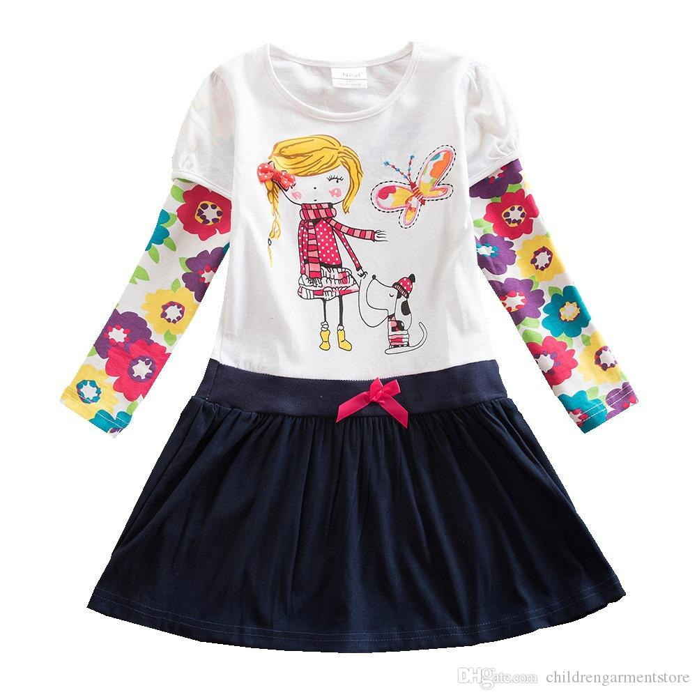 Baby Girl Cartoon Flower Cotton Dress Long Sleeve Winter Dresses for 2-8 Years Little Girls Children Clothes Kids Dress Girls Clothes