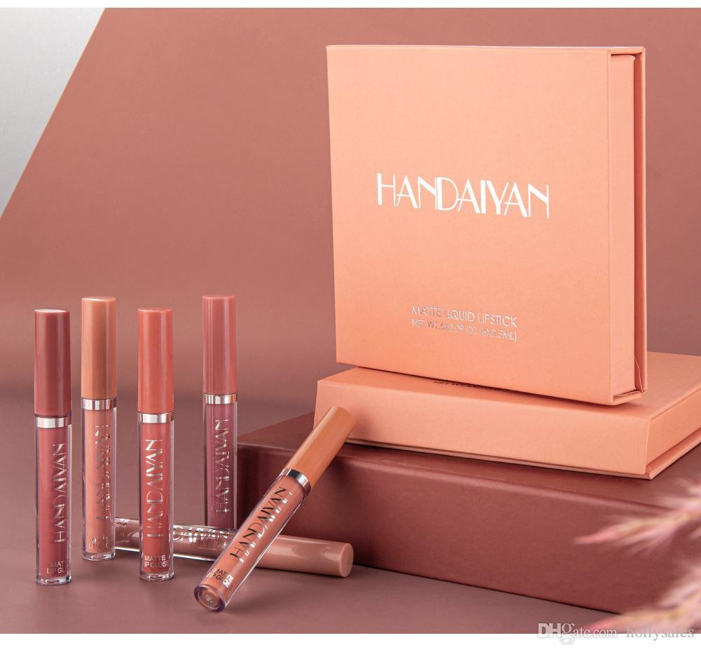 HANDAIYAN 6Pcs Matte Lipstick Ensembles lèvres liquide Tint Matte Velvet Long Lasting Coupe Hydratante Non-bâton Maquillage Beauté Lips Gloss