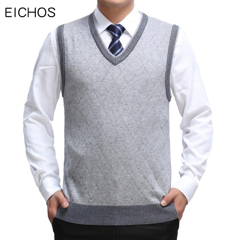 50831ef36 2019 EICHOS Mens Sleeveless Pullover Fashion Plaid Jumper Knitted Sweater  Men Vest Business Casual Cotton Warm V Neck Vests Pullovers From Donahua