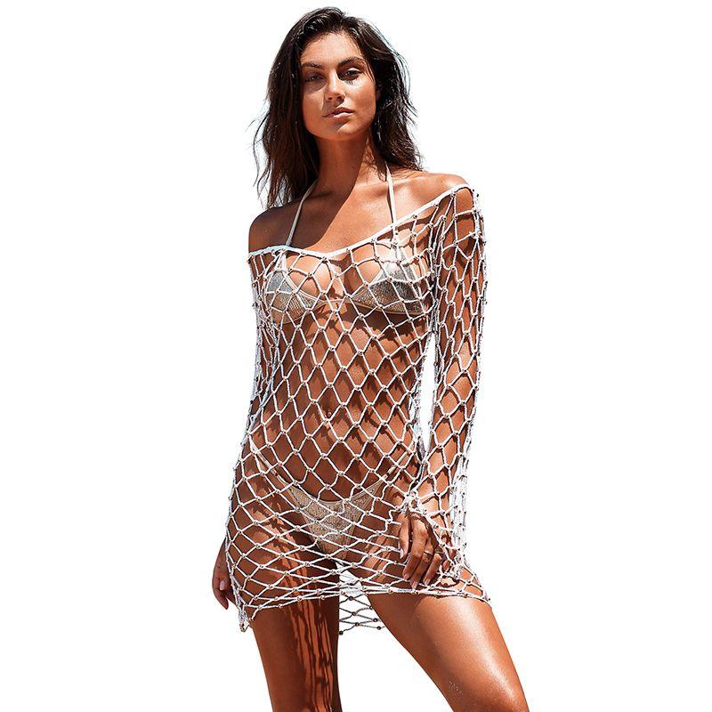 66085bb8b6 Sexy Women Hollow Out Dress See Through Pearls Open Back Fishnet Summer  Beachwear Cover Ups Boho Beach Bikini Covers Pareo 2019 Cocktail Dresses  Teens Dress ...