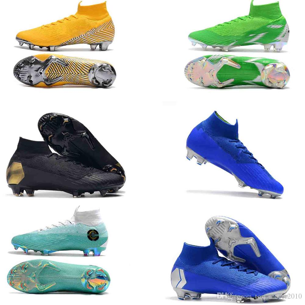 5cdd518486a 2019 2018 Word Cup Football Boots Men Mercurial Superfly VI 360 Elite  Neymar FG Soccer Shoes SuperflyX KJ XII Ronaldo CR7 Cleats Size 36 45 From  ...