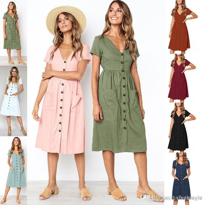 5c3e9f1e27a 2018 Women S Fashion Summer Short Sleeve V Neck Button Down Swing Midi Dress  With Pockets Beach Summer Dress Women In Long Dresses Black And Red Dresses  For ...