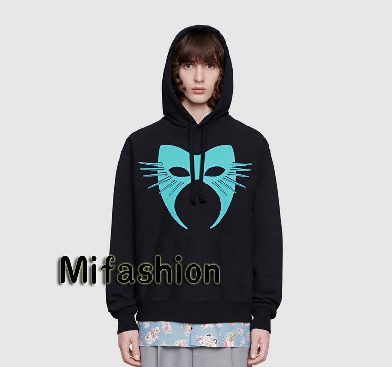 19FW Luxury Autumn Winter Europe Italy Mask Hoodies Fashion Men Clothes Hooded Sweatshirt WomenXXLGUCCI