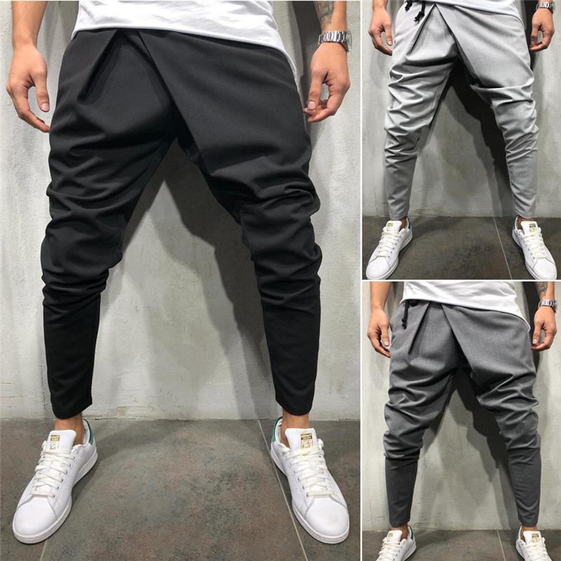 d1915bbb5 Compre 2019 A Estrenar Para Hombre Pantalones Deportivos Casuales Slim Fit  Recto Chándal Jogger Gym Pantalones Moda Hombres Con Cordones Lápiz  Pantalones ...
