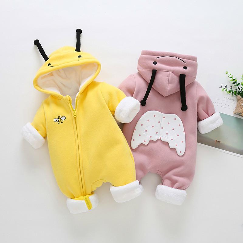 7eeab71435b1 Newborn Cute Ears Hooded Baby Boys And Girls Clothes Winter ...