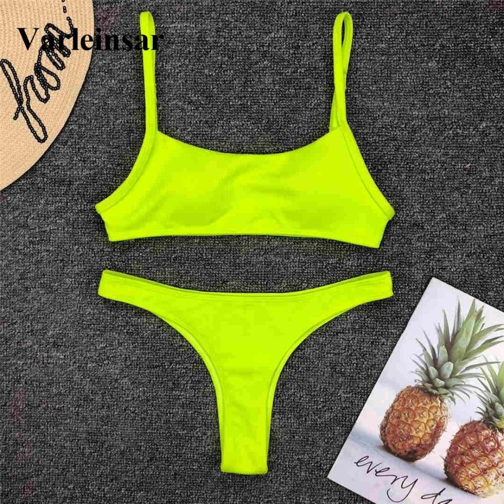 56696a80d73ad Sexy Neon Yellow Thong Bikini 2019 Women Swimwear Thong Swimsuit ...
