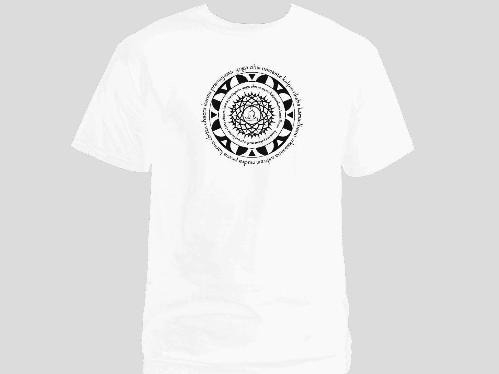 4a6d3ed7dd Sacred Art Mandala Lotus Posture & Yoga Terms Namaste Om Chakra White T  Shirt Funny Unisex Fun Shirts T Shirts Online Shopping From Young_ten, ...