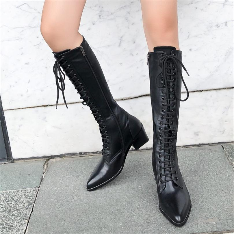 c283cf74cb6 NAYIDUYUN Women Lace Up Straps Genuine Leather Knee High Riding Boots  Pointed Toe Chunky High Heels Winter Party Pumps Shoes Cute Shoes Boots  From Purpurpur ...