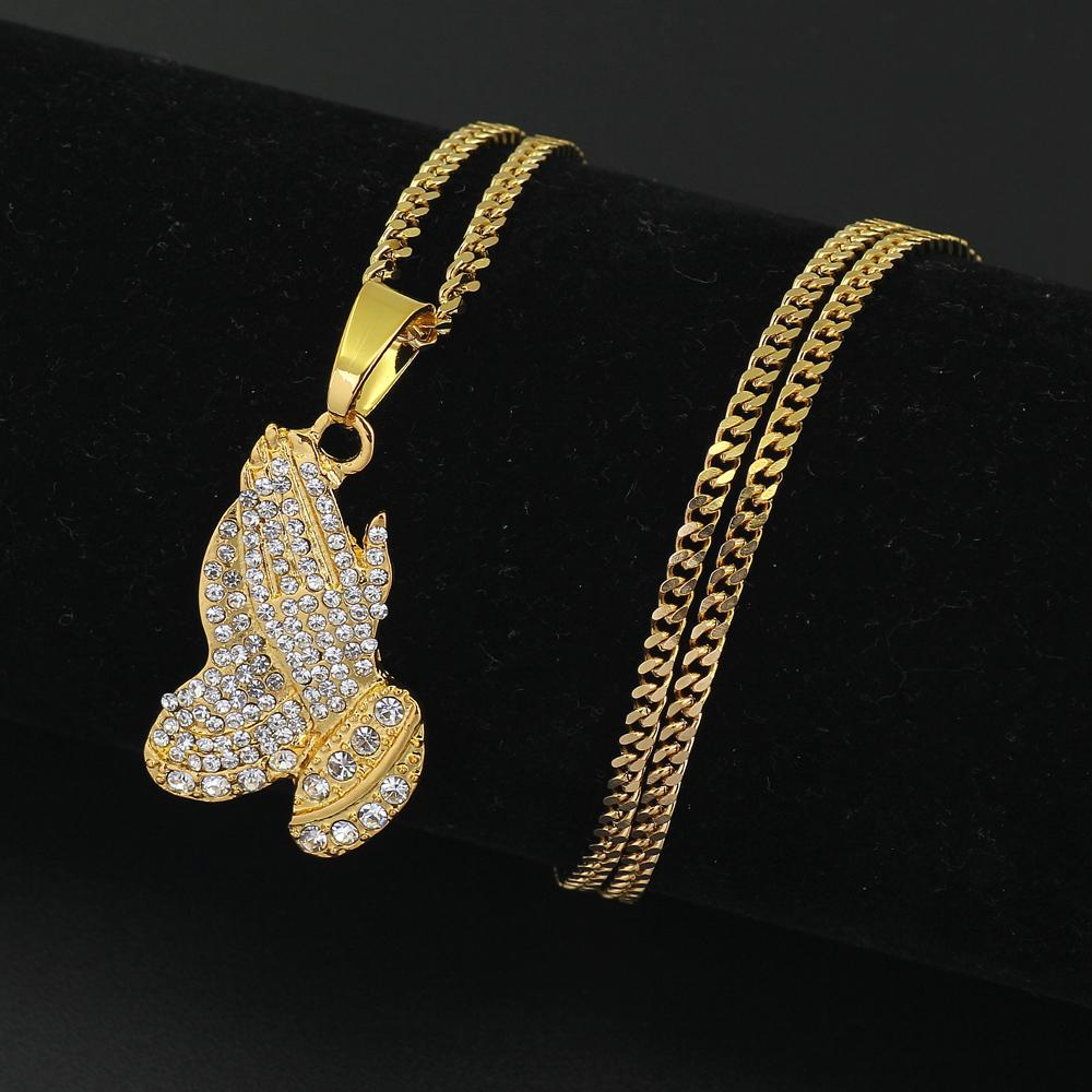 375c91aeef3c1 3mm 24inch Stainless Steel Cuban Chain Hip Hop Crystal Hands Pendant  Necklace N525 Free Shiping
