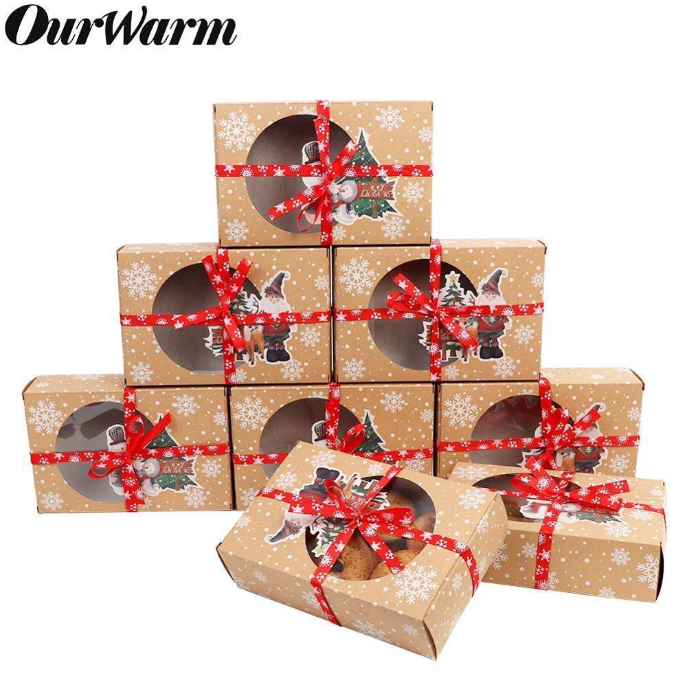 OurWarm 12/24pcs Kraft Paper Christmas Cookie Gift Boxes with Clear Window 18*12*5cm New Year Favors Boxes for Cookies Treats T200229