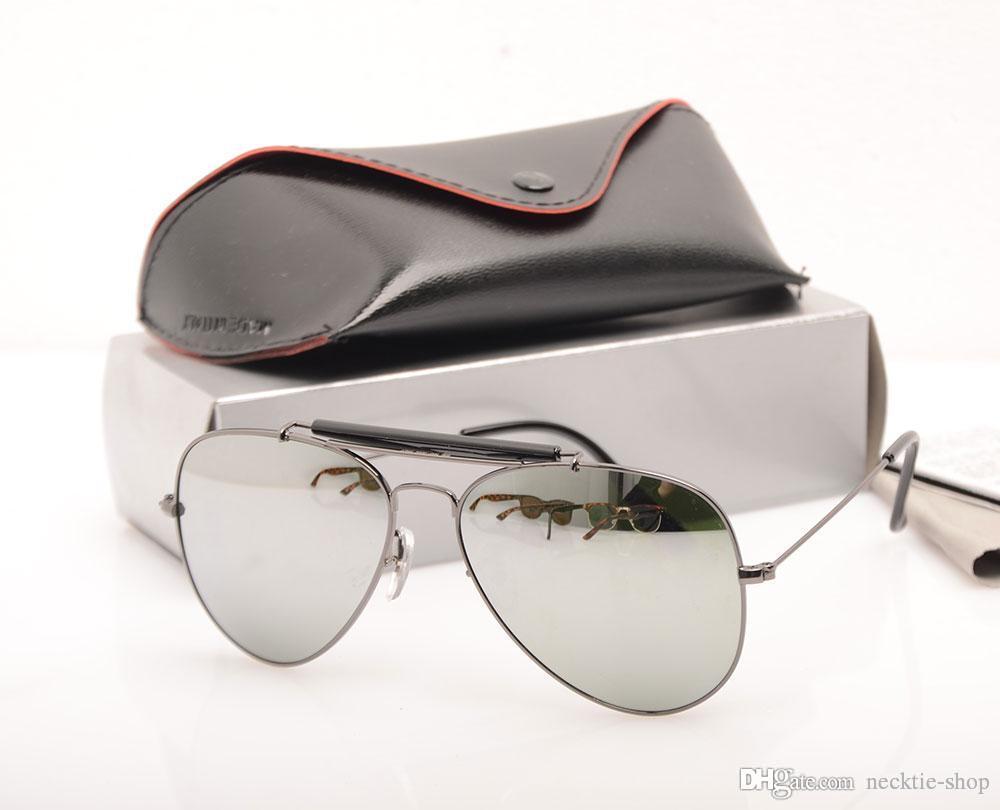 e3ada7eb25 Compre Gafas De Marca Lente De Cristal Hombres Piloto Gafas Para Sol  Tirador Diseñador De La Marca Gafas De Sol De Protección UV Gafas De Sol  Con Estuches ...