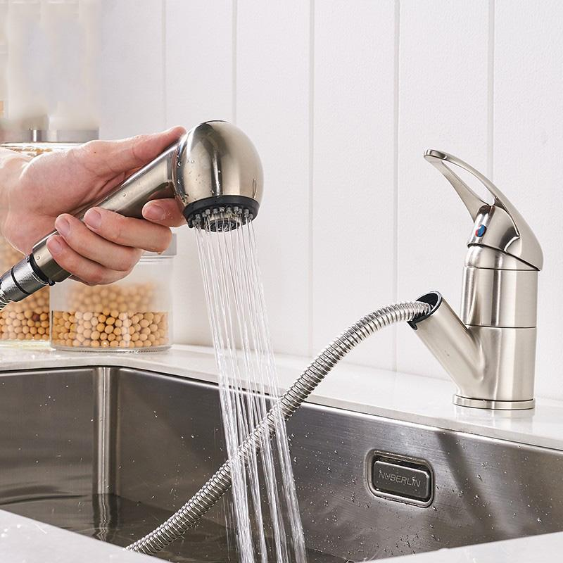 2019 Single Lever Kitchen Faucet Pull Out Sprayer Prep Kitchen Sink Faucet  Pull Out Bar Sink Taps Polished Bathroom From Hibooth, $53.25 | DHgate.Com