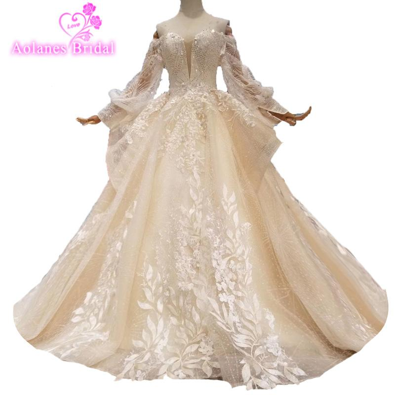 New Fashion 2019 Off The Shoulder Bridal Gown Lace 3d Handmade Flower Custom Made Crystals Bead Vestido De Noiva Wedding Dresses