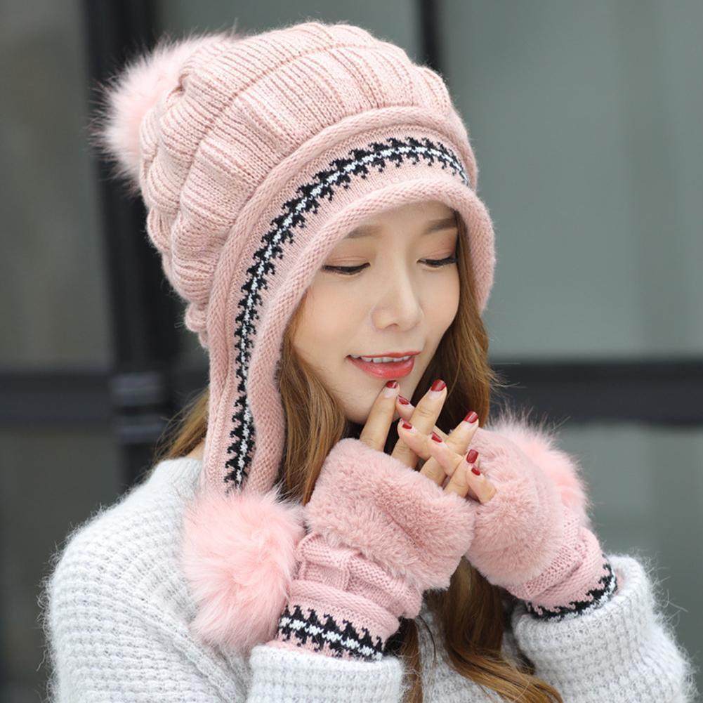 df29ce2a2 Soft Warm Winter Fabala Glove Knitted Hat Thicken Cute