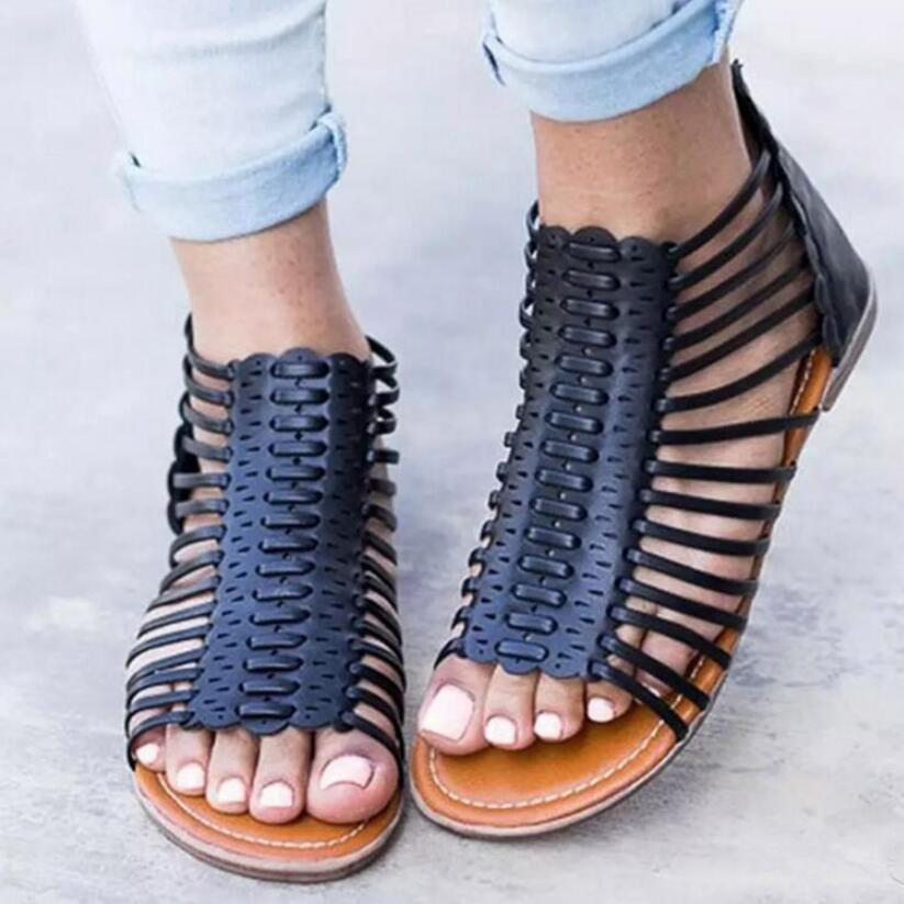 626fd2dbc Pop 2019 Woman Summer Peep Toe Flat Sandals Women Gladiator Flats Shoes  Rome Ladies Casual Cut Out Footwear Girls Zapatos Mujer Shoes For Sale  Womens ...