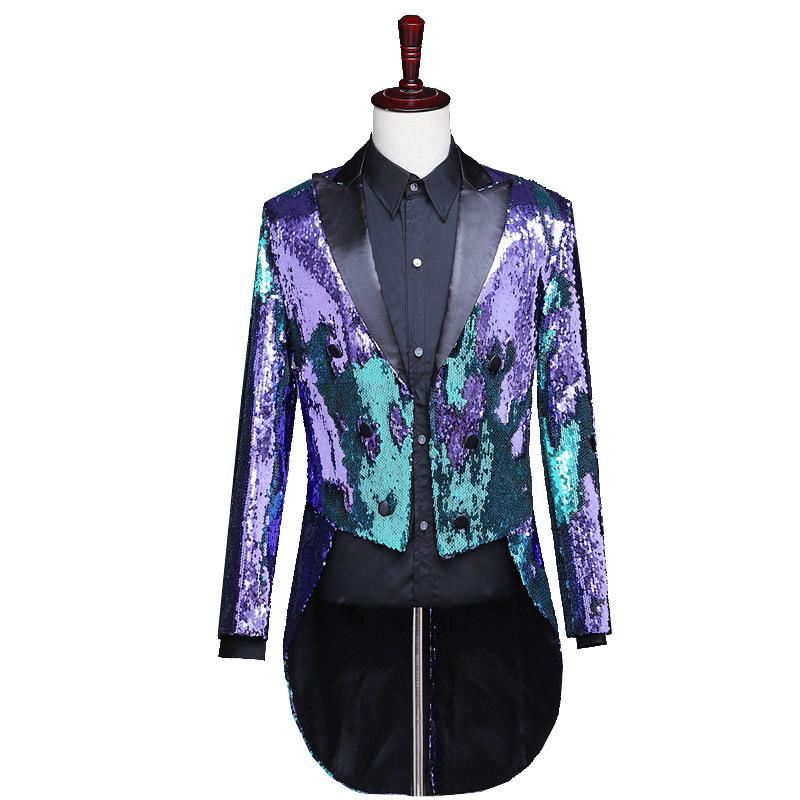 2018 Newest Sequins Men's Jacket Shiny Purple Gold Shawl Collar Tuxedo Men Wedding Groom Coat Costumes