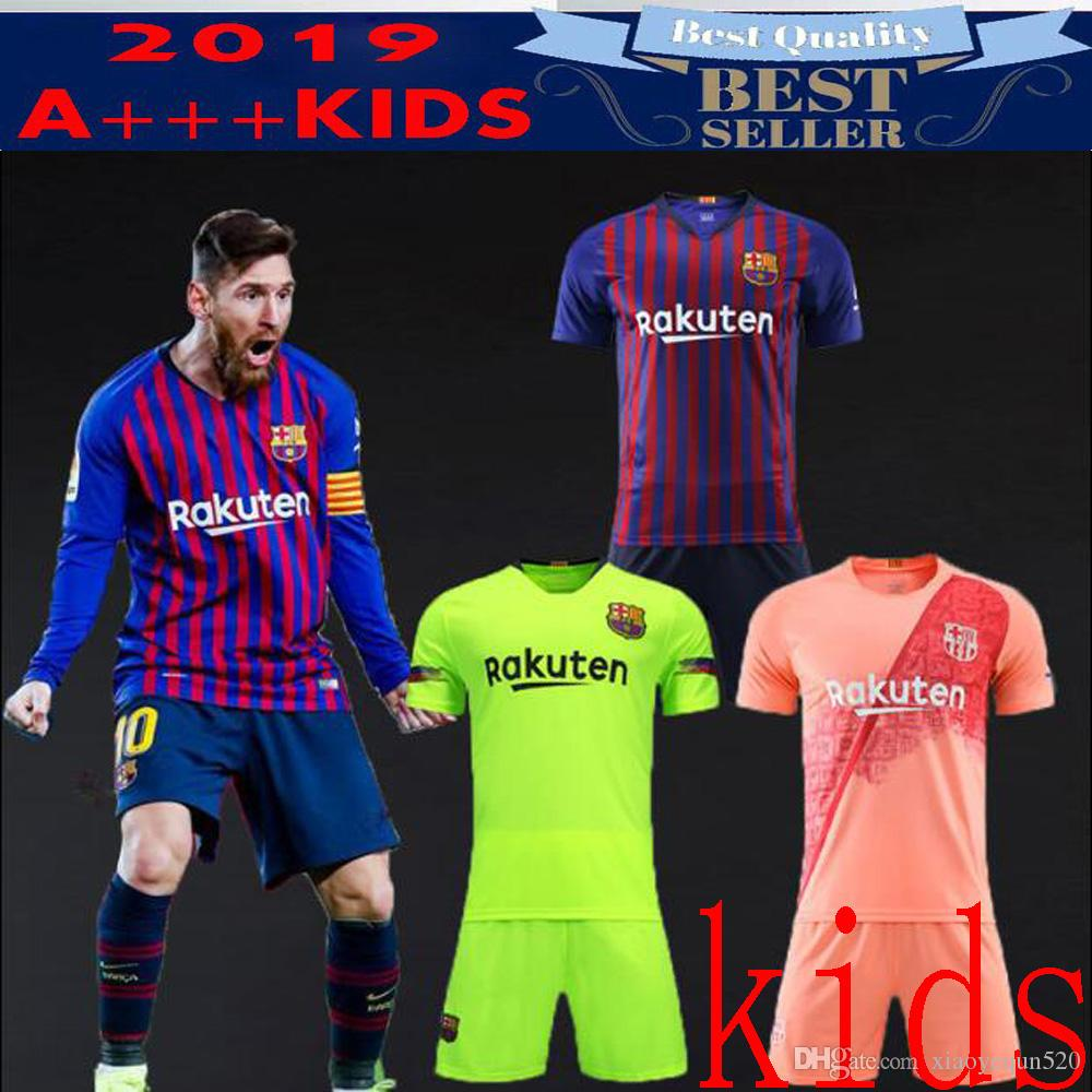 044b66d2b4 2019 2019 Kids Kit Barcelona Third VIDAL MESSI SUAREZ Jersey Soccer Home  Away 3rd PIQUE INIESTA COUTINHO A.INIESTA Football Shirt Youth Boy Kit From  ...