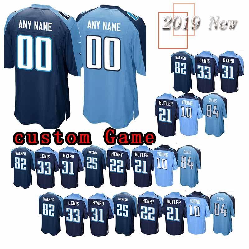 Discount 2019 Custom Game Tennessee Titan Jersey 22 Derrick Henry 18 Rishard  hot sale