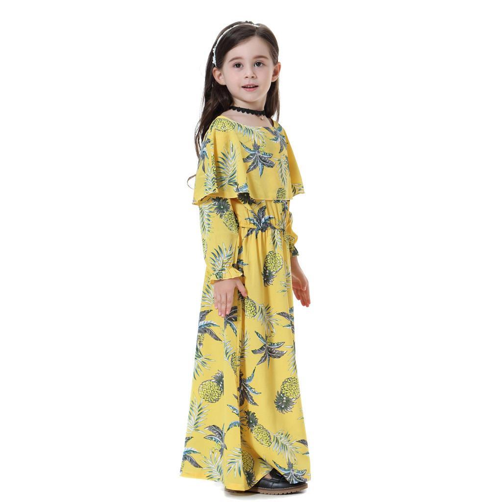 b6e921a4e5fe1 TELOTUNY Girls Dress Cotton 2019 Children Kids Girls Muslim Islamic Floral  Printed Long Sleeves Robe Burka Maxi Dresses 19APRI11