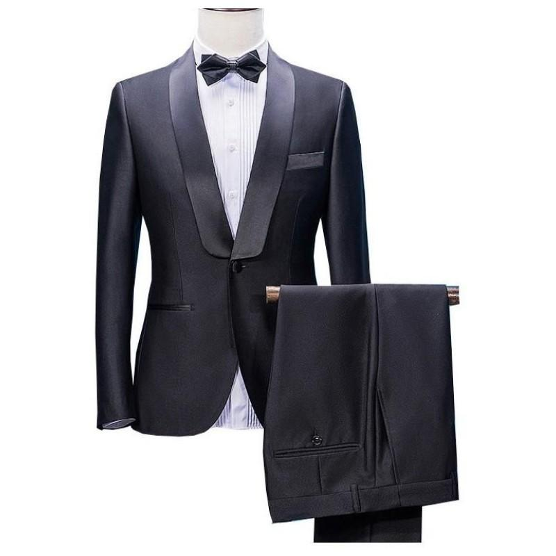New Arrivals Wedding Tuxedos 2020 Shawl Lapel One Button Mens Prom Tuxedos Suits Three Pieces (Jacket+Pants +Bow) J266