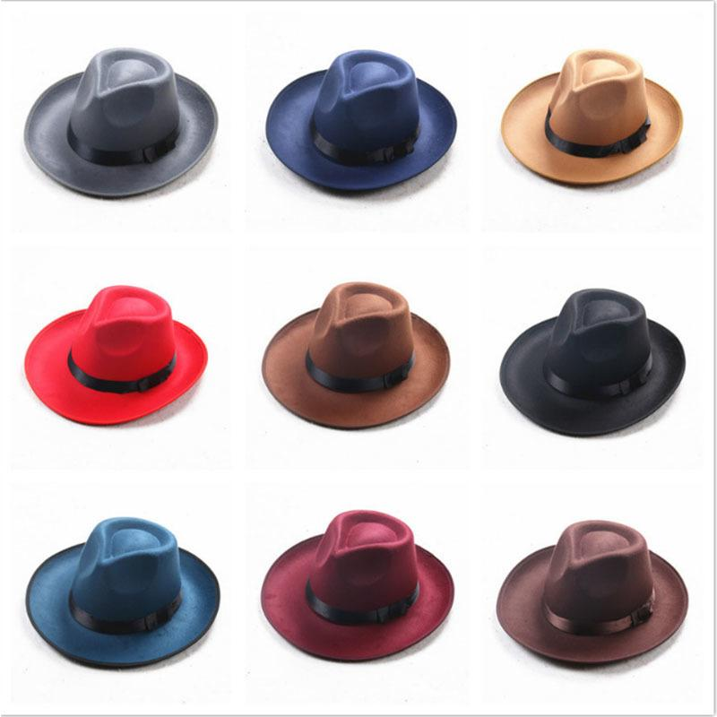 9a686925dbaf6 Winter Vintage Warm Sun-shade Panama Fshion Gangster Cap Hard Wide Brim  Fedora Trilby Felt Hat British Style Women Men D19011102