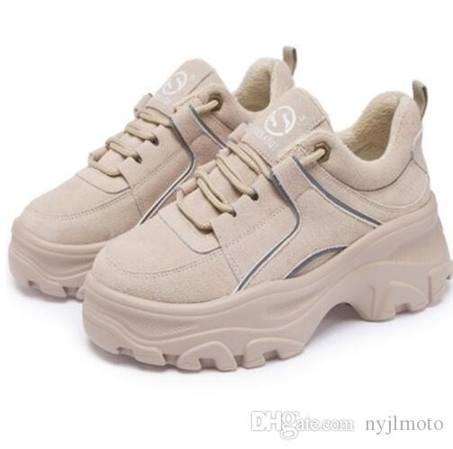 5da99b5fd8784 Genuine Leather Women s Platform Sneakers Winter Warm Women Chunky Sneaker  Fashion Thick Sole Ladies Flat Dad Shoes