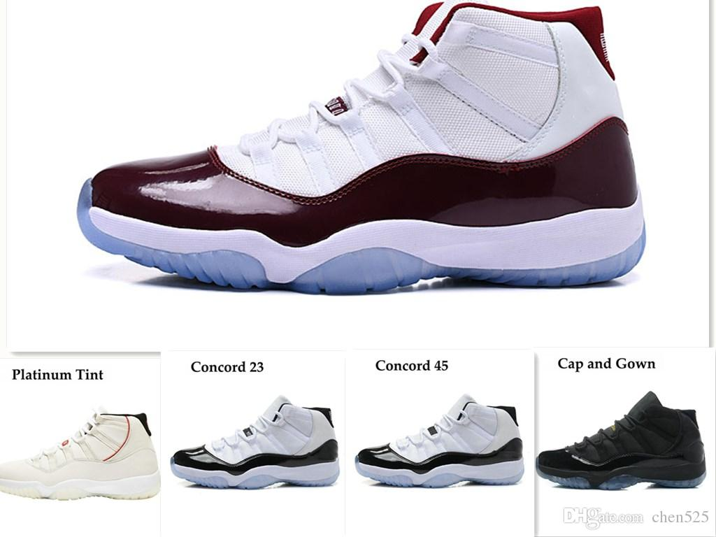 f04a2a0c0b05c7 11s Mens Basketball Shoes Concord 45 Platinum Tint Prom Night Gym Red 11  Bred Womens Trainers Sports Sneaker Size 5.5-13 Basketball Shoes Concord 45  ...