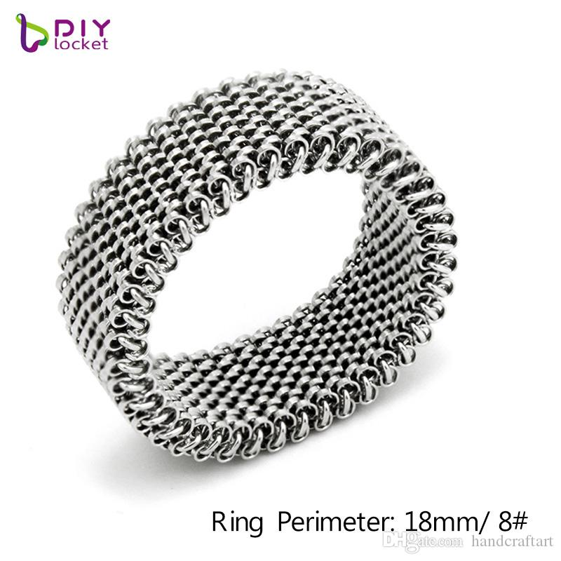 10pcs/lot Wholesale Stainless Steel elasticity Mesh Ring fit 10mm slide charms /slide letters LSBR056