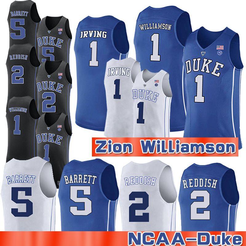 5f8170a2f608 2019 1 Zion Williamson 2019 Men S NCAA Duke Blue Devils Jersey 2 Cam  Reddish 5 RJ Barrett Black White College Basketball Jerseys From  New style jerseys