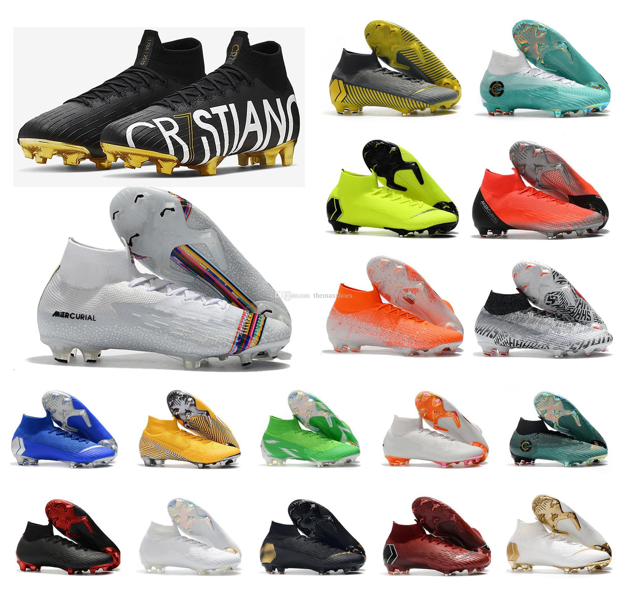 reputable site 6a9d8 8c953 New Mercurial Superfly 6 Elite CR7 SE FG VI 360 Ronaldo Neymar Mens XII 12  Women Boys High Soccer Shoes Football Boots Cleats Size US 3-11