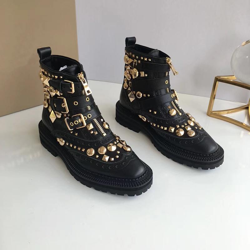 Black Luxury Leather Metal Spikes Ankle Boots Fashion Designer Sexy Ladies Genuine Leather Flat Winter Boots Metal Chain Casual Shoes