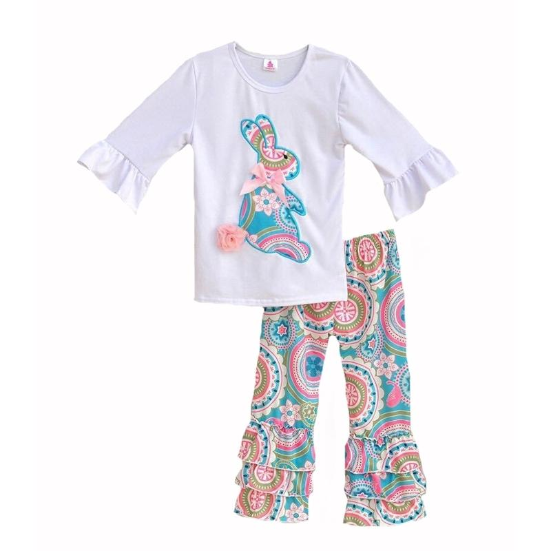 3986615f67956 2019 Girls Easter Bunny Pattern Outfits Baby Paisley Knit Cloth Set Kids  Animal Print Shirts & Ruffle Bell Pants Leggings Y190518 From Shenping01,  ...