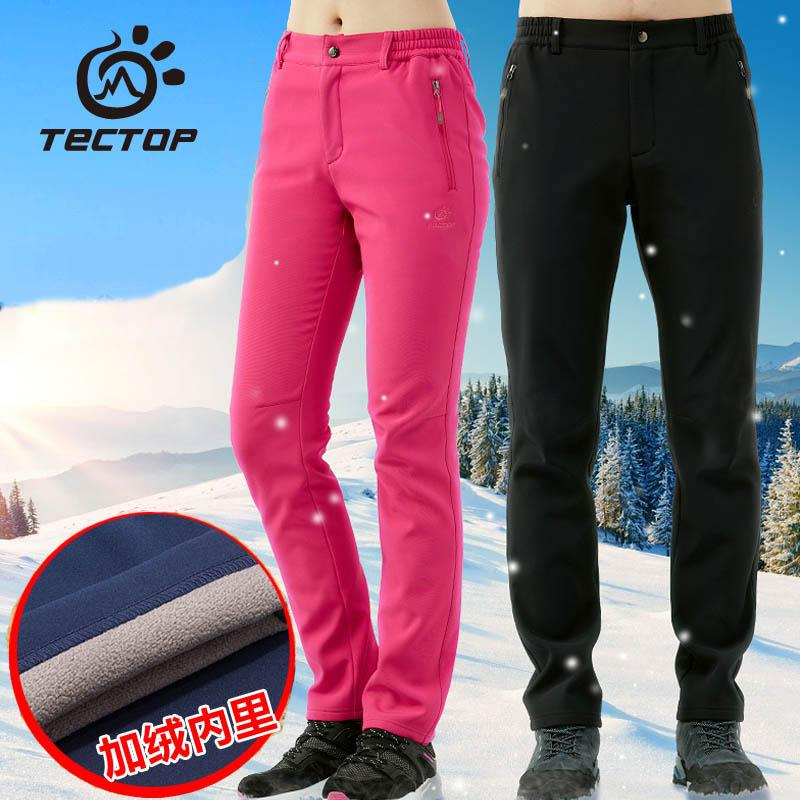 1739833940a 2019 Tectop Outdoor Plus Velvet Pants Men Women Soft Shell Pant Autumn  Winter Thermal Thick Windproof Warm Hiking Camping Trousers From  Qingfengxu