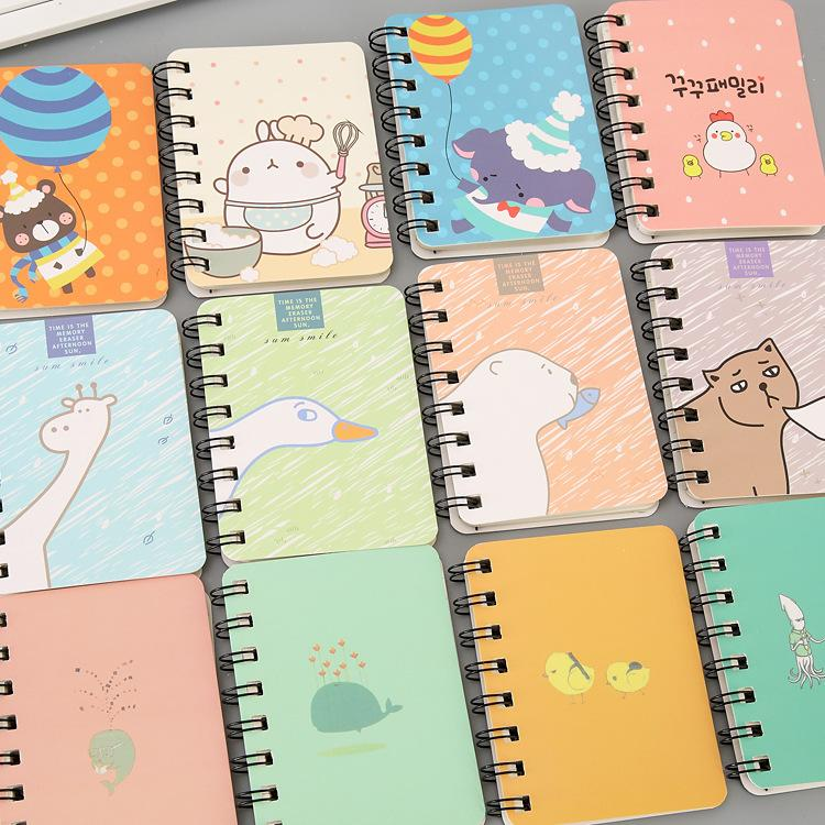 Cartoon Animals Spiral Mini Notebook Printed Cute Cat Face Students Notebook Coil Notepad Journey Diary Office Notebooks VF1511 T03